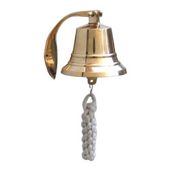 """Handcrafted Model Ships - Brass Hanging Harbor Bell 4"""" - Brass Nautical Bell - Elegantly designed and gleaming with a lustrous shine, this fabulous Brass Hanging Harbor Bell 4"""" is equally stunning indoors or out, and is fully functional for actual use on the docks. Enjoy its wonderfully decorative style and distinct, warm nautical tone with each and every resounding ring. Each bell's length is measured from the highest point of its hanger to the lower lip of the bell, while the width is the diameter of the flared bell opening."""