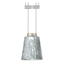 Besa Lighting - Besa Lighting 1XA-5125SF Nico 1 Light Halogen Cable-Hung Pendant - Nico 4 features a tapered drum shape that fits beautifully in transitional spaces. Our Stone Silver Foil glass is a clear blown glass with an outer texture of coarse sandstone, with distressed metal foil hand applied to the inside. Inspired by the elements of nature, the appearance of the surface resembles the beautiful cut patterning of a rock formation. This blown glass is handcrafted by a skilled artisan, utilizing century old techniques that have been passed down from generation to generation. Each piece of this decor has its own artistic nature that can be individually appreciated. The 12V adjustable pendant fixture is equipped with 8' of bare silver-color braided cable, spring-loaded cable adjuster, quick connect jack and low profile flat monopoint canopy.Features: