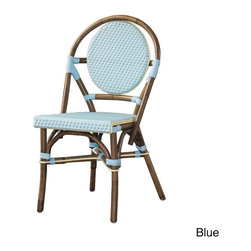 None - Paris Bistro Chairs (Set of 2) - These rattan-frame dining chairs are iconic pieces that invoke the feeling of the outdoor bistros in Paris. Hand-woven in a bright,synthetic material,these chairs will add a pop of color to your outdoor space.