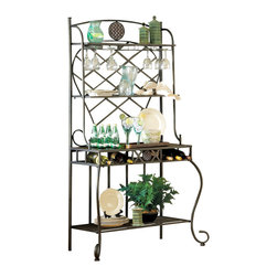 Steve Silver Furniture - Steve Silver Wimberly Bakers Rack - It's a bakers rack and so much more! This versatile kitchen piece is the culinary equivalent of a one-man band. Store wine glasses, wine bottles, plants, dishes, cookware and beverage bottles, whatever works. Attractive and useful, this rack will make the cooks in your house happy.