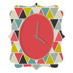 DENY Designs - Heather Dutton Triangulum Quatrefoil Clock - Tick tock, tick tock. When time feels like it's standing still, check out the quatrefoil clock collection. With a sleek mix of baltic birch ply trim that's unique to each piece and a glossy aluminum face, this quatrefoil clock is just what you need to make the day go by just a little bit faster.