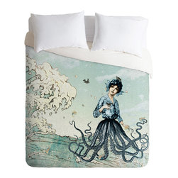 DENY Designs - Belle13 Sea Fairy Duvet Cover - Turn your basic, boring down comforter into the super stylish focal point of your bedroom. Our Luxe Duvet is made from a heavy-weight luxurious woven polyester with a 50% cotton/50% polyester cream bottom. It also includes a hidden zipper with interior corner ties to secure your comforter. it's comfy, fade-resistant, and custom printed for each and every customer.