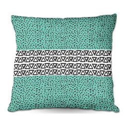 DiaNoche Designs - Pillow Woven Poplin from DiaNoche Designs by Pom Graphic Design - River Aqua Pat - Toss this decorative pillow on any bed, sofa or chair, and add personality to your chic and stylish decor. Lay your head against your new art and relax! Made of woven Poly-Poplin.  Includes a cushy supportive pillow insert, zipped inside. Dye Sublimation printing adheres the ink to the material for long life and durability. Double Sided Print, Machine Washable, Product may vary slightly from image.