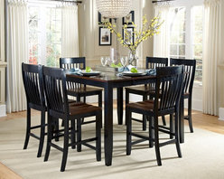 None - Canterbury 7-piece Brown/ Black Maple Wood Dining Set - Modernize your dining room decor with the stunning two-tone Canterbury 7-piece dining room set. Made with durable maple wood, this black and brown extendable table set features a self-storing butterfly mechanism with metal hinges and magnetic latches.