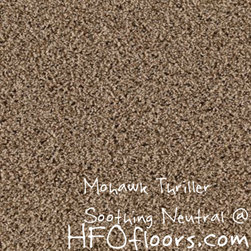 Mohawk Carpet Thriller - Mohawk Thriller, Soothing Neutral 12' Everstand constructed polyester carpet. Available at HFOfloors.com.
