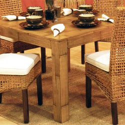 Hospitality Rattan - Pegasus Indoor Rattan & Wicker Square Dining - This product is warranted for indoor use. Made of Rattan Poles & Woven Wicker. Traditional Indoor Wicker & Rattan square dining table with 48 in. square round glass. Finished in Natural Color. Constructed of commercial quality rattan poles. Fully assembled. 41 in. W x 41 in. D x 31 in. H (90 lbs.)This Handmade Pegasus collection is woven over in a spaced lattice pattern and has strong wood legs. In addition your choice of over 45 fabrics are available. The Pegasus is a very sleek and contemporary rattan and woven wicker collection.