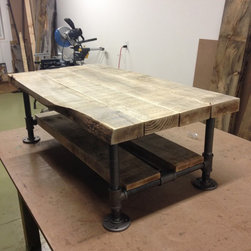 "Reclaimed wood & pipe coffee table with gray barn wood - 48"" x 24"" x 16""h"