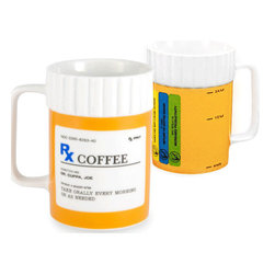 "BrightandBold - Rx Coffee Mug - Whether you know a nurse, doctor, pharmacist, or just someone who loves their coffee so much you'd THINK they had an ongoing prescription; they'll get a laugh out of this Rx Prescription Coffee Mug. Designed after a prescription bottle complete with tongue-in-cheek text, it makes the perfect coffee lovers gift for birthday or holidays. This ceramic coffee mug looks like a prescription bottle! issued by Dr. Cuppa Joe. Instructions: Take orally every morning or as needed."" The back side is complete with warnings: Overuse May Cause Jitters, If Tired Return to Coffee Maker, May result in Increased Productivity; and a cup fill guide: empty, 1/2 full & 3/4 full. this may be the the best early morning cure for what ails you! Made from durable ceramic and microwave/dishwasher safe. Mug holds 12 oz and measures 4.25"" diameter by 3""."