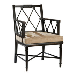 Telfair Distressed Brown Hemp Lattice Back English Garden Chair