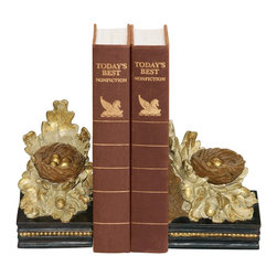 Sterling Industries - Sterling Industries Pair Oak And Acorn Bookends X-9424-39 - This Sterling Industries bookends set from the Oak and Acorn Collection are designed to compliment any setting. The nature-inspired theme, which features golden eggs in a nest, lends a traditional feel to the bookend set. Gold finishing has been paired with shades of cream and black for added interest.