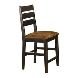 Hillsdale Furniture - Ladder Back Non-Swivel Counter Stool - Set of - Includes 2 Stools. Ladderback Design. Black/Antique Brown Finish. 18.5 in. W x 19 in. D x 42 in. H (43.5 lbs.)