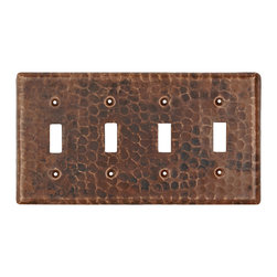 Premier Copper Products - Switchplate Quadruple Toggle Switch Cover - Copper Switchplate Quadruple Toggle Switch Cover
