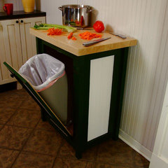 eclectic kitchen trash cans by Chris Hill