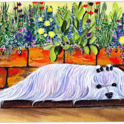 Caroline's Treasures - Maltese Kitchen Or Bath Mat 24X36 - Kitchen or Bath COMFORT FLOOR MAT This mat is 24 inch by 36 inch.  Comfort Mat / Carpet / Rug that is Made and Printed in the USA. A foam cushion is attached to the bottom of the mat for comfort when standing. The mat has been permenantly dyed for moderate traffic. Durable and fade resistant. The back of the mat is rubber backed to keep the mat from slipping on a smooth floor. Use pressure and water from garden hose or power washer to clean the mat.  Vacuuming only with the hard wood floor setting, as to not pull up the knap of the felt.   Avoid soap or cleaner that produces suds when cleaning.  It will be difficult to get the suds out of the mat.