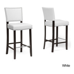 Baxton Studio - Baxton Stuido 'Aries' Modern Bar Stools with Nailhead Trim (Set of 2) - Show your sophisticated side by making these handsome modern bar stools play important roles in your decor. The black frames include built-in stainless-steel footrests that offer comfort,while the faux-leather seats feature pretty silver trim.