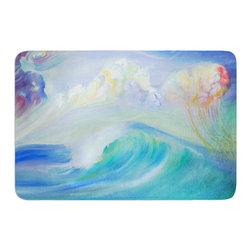"KESS InHouse - Theresa Giolzetti ""Jelly Fish"" Blue Teal Memory Foam Bath Mat (17"" x 24"") - These super absorbent bath mats will add comfort and style to your bathroom. These memory foam mats will feel like you are in a spa every time you step out of the shower. Available in two sizes, 17"" x 24"" and 24"" x 36"", with a .5"" thickness and non skid backing, these will fit every style of bathroom. Add comfort like never before in front of your vanity, sink, bathtub, shower or even laundry room. Machine wash cold, gentle cycle, tumble dry low or lay flat to dry. Printed on single side."