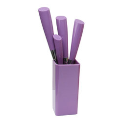 Q Squared NYC - Calla 5-Piece Flatware Set, Purple - Inspired by the graceful contours of the calla lily blossom, this handsome five-piece flatware set features ABS plastic handles that are specially treated to preserve their color. Sturdy stainless steel keeps its shape and its shine — even after hundreds of washings. It's a smart, stylish design at a great price!