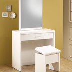 "Coaster - 300290 2-Piece Vanity Set - White - These sleek contemporary vanity sets will be a welcomed addition to your master bedroom. Featuring a large mirror that slides open to reveal hidden jewelry storage compartments and hooks as well as a pull-out drawer which has been divided to make organizing more convenient. A matching stool with storage space is included. Available in a glossy cappuccino or white finish.; Dimensions: Vanity (White): 31.50""L x 15.75""W x 58.50""H; Stool: 15.75""L x 12.00""W x 17.00""H"