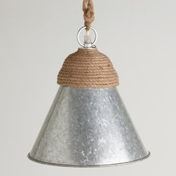 Galvanized Metal and Rope Pendant Lamp - I am a fan of pendants at the best of times, and this one definitely catches my eye. I see this fixture in so many settings, both dressed up and dressed down.