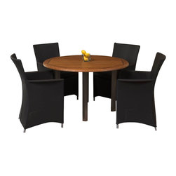Westminster Teak Furniture - Apollo Luxury Outdoor Dining Set - The Apollo Vogue Dining Set consist of 1 Vogue 4FT Round Table made of stainless steel and teak that is complemented with 4 Apollo Armchairs by of sturdy, weather resistant textilene fabric.