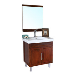 Bellaterra Home - 31.5 in Single sink vanity-wood-walnut - Brighten up your decor with this walnut finished vanity featuring solid wood construction, clean transitional design.  Double doors opening to storage space with one interior shelf. Soft closing hinges and brush nickel hardware completes this warm transitional look.