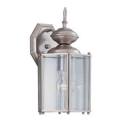 Designers Fountain - Designers Fountain Beveled Glass Lantern Transitional Outdoor Wall Sconce - A soft Pewter finish gives an air of elegance to the Designers Fountain Beveled Glass Lantern Transitional Outdoor Wall Sconce. With six Clear Beveled glass windows and an appealing rounded lantern top, this fixture is ready to add classic style and a lovely glow at the front door. It would look especially stunning against deep gray painted wall.