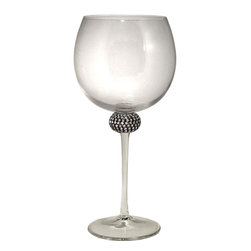 Alan Lee Collection - Princess Collection Balloon Red Wine Glasses - This Red Wine balloon glass is beautiful for the most discriminating connoisseur. Cut crystals are intricately hand applied to create a glittering and elegant effect.