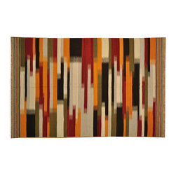 Colorful Durie Kilim 6'x9' 100% Wool Flat Weave Hand Woven Oriental Rug SH14913 - Soumaks & Kilims are prominent Flat Woven Rugs.  Flat Woven Rugs are made by weaving wool onto a foundation of cotton warps on the loom.  The unique trait about these thin rugs is that they're reversible.  Pillows and Blankets can be made from Soumas & Kilims.