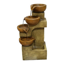 Alpine Fountains - Tiering Pots Fountain - Made of Polyresin. 1 Year Limited Warranty. Assembly Required. Overall Dimensions: 9 in. L x 7 in. W x 17 in. H (4.4 lbs)Accent any table with this rustic tabletop fountain. Let the water flow from one pot to the next bringing a sense of serenity and joy to any room in your house.