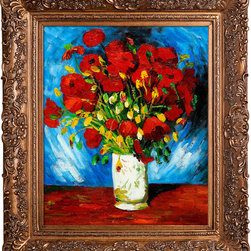 overstockArt.com - Van Gogh - Poppies Oil Painting - Hand painted oil reproduction of Vase with Red Poppies Originally painted in 1886. Today it has been carefully recreated detail-by-detail, color-by-color to near perfection. The series of sunflower paintings reminded him of the happy days spent in a yellow house with another artist. The painting series was intended to decorate Gauguin's bedroom, but only two where worthy to hold Van Gogh's signature. Van Gogh's Sunflower painting is part of a series of still life oil paintings. Among the paintings are three similar paintings with fifteen sunflowers in a vase, twelve sunflowers in a vase, and Sunflowers with blue background. Van Gogh began painting the works in late summer 1888 and continued into the following year. The paintings show sunflowers in all stages of life, from fully blossomed to withering. The paintings are considered innovative for their exclusive use of the yellow spectrum. Vincent Van Gogh's restless spirit and depressive mental state fired his artistic work with great joy and, sadly, equally great despair. Known as a prolific Post-Impressionist, he produced many paintings that were heavily biographical. This work of art has the same emotions and beauty as the original by Van Gogh. Why settle for a print when you can add sophistication to your rooms with a beautiful fine gallery reproduction oil painting?