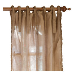 """Taylor Linens - Ruffle Linen Curtain Panel, Tobacco, 42""""x96"""" - Sheer linen edged with a 1/2-inch ruffle makes a sweet and simple curtain panel for your vintage country decor, adding just a touch of light-filtering softness. The old-fashioned cloth ties at the top let your curtain rod show, adding to the casual cottage look."""