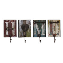 None - Set of 4 Iron Country Home and Hearth Wall Hangers - These four wall hooks,when placed together,spell the word 'Home'. These charming hooks are accented with metal keys.