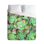 DENY Designs - Lisa Argyropoulos Succulents Color Duvet Cover - Turn your basic, boring down comforter into the super stylish focal point of your bedroom. Our Luxe Duvet is made from a heavy-weight luxurious woven polyester with a 50% cotton/50% polyester cream bottom. It also includes a hidden zipper with interior corner ties to secure your comforter. it's comfy, fade-resistant, and custom printed for each and every customer.