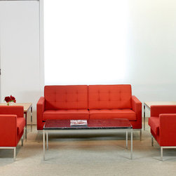 Button Loveseat, Red Wool -