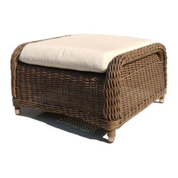 "Wicker Paradise - Outdoor Wicker Ottoman - Bayshore - This outdoor wicker ottoman is a splendid addition to the Bayshore lounge or swivel chair. The all weather wicker ottoman is framed on aluminum for care-free outdoor living.  It includes a thick cushion in Sunbrella outdoor fabric. The chair measures 28"" wide, 29"" deep, 17"" high. Kick off your shoes, put up your feet and unwind with your Bayshore ottoman now!"