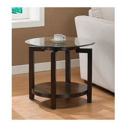 None - Tanner Espresso End Table with Shelf - A perfect accessory in any home, this glass-top espresso end table features hard wooden legs with non-mar feet and a bottom shelf for magazines, books, or other decorative knickknacks. The tempered glass tabletop adds style to the look of the table.