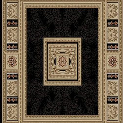 Ottomanson - Black Traditional European Design Rug - Royal Collection offers a wide variety of machine made modern and oriental design area rugs with durable, stain-resistant pile in trendy colors.