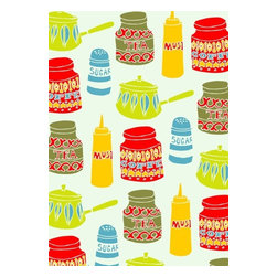 Kitchen Cupboards, Limited Edition, Hand Printed Work - Everyone's favourite British kitchen items in one print. Perfect for adding some retro glamour to your walls. Six color hand drawn original screen print and hand pulled by artist.  Print produced in short, limited edition run of 60 All prints numbered signed & embossed with artists stamp.