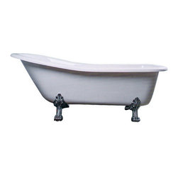 Kingston Brass - 69-inch Acrylic Tub with Constantine Lion Feet - This clawfoot tub features a long 69in. white acrylic body with a sloped backrest constructed on one end like a slipper. The shape of the tub provides ample space allowing one to recline using the deeper end as placement for the upper body for a full-body submersion in the bath. The white porcelain enamel is durable and easy to clean utilizing a soft cloth and detergent.