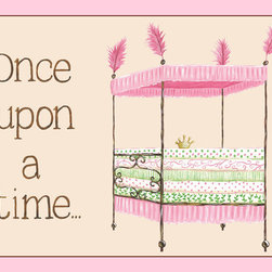 Regal Storybook Bed, Pink Once Upon a Time Nursery Wall Art by Sherri Blum - Our Regal Storybook line of princess wall art is perfect for your little princess nursery theme or royal princess room for your little girl. Available in a variety of sizes and in pink or lavender, our princess wall decor completes your fairytale theme. Original art by Sherri Blum, celebrity nursery designer and kids room designer and owner of Jack and Jill Interiors.