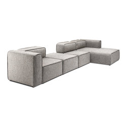 Bryght - Acura 3 Seat Right Sectional With Chaise - The Acura Collection looks perfect in a modern home with its firm yet comfortable foam filling and sophisticated grey upholstery. The Acura can be easily customized to your needs which makes it great for small and large spaces alike.