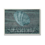 Stupell Industries - Seashells It's a Shore Thing Wall Plaque - Treat your home to some style with one this decorative wooden wall plaques.    It is produced on sturdy half-inch thick MDF wood, and comes with a saw tooth hanger on the back for instant use.  The sides are hand finished and painted so a perfect crisp look.  MADE IN USA.