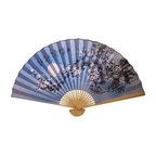 Oriental-Décor - Blue Blossoms - This stunning wall fan features a gorgeous cherry blossom design set against a blue background that can be viewed as a daytime or night-time scene. Cherry blossoms are a prized flower in Asia. The Chinese, Japanese, Koreans and other Asian countries celebrate the flower in artwork, festivals, poetry and gardens. This special fan from Asia will create a scenic and beautiful look on any wall in your home, office or business.