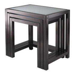 Winsome Wood - Copenhagen Nesting Table with Glass top, Set of 3 - Our Copenhagen Nesting Tables is elegant and modern. Group them together or use them individually to around the house. It is made from solid wood in dark espresso finish.