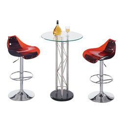 Global Furniture USA - M208BT + M250BS-R/BL Glass Table With Red & Black Acrylic Stools Bar Set - The M208BT + M250BS bar set is the ideal piece for entertainment that will add a touch of modern design. Crafted from chromed metal and glass this bar unit is a great addition for any modern decor. The bar features a unique tower design with detail and a black base. Each stool is crafted from molded acrylic and has a red and black finish.