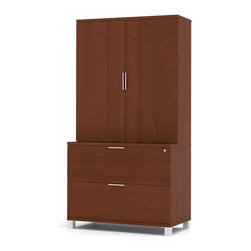 Bestar - Pro-Linea Lateral File and Cabinet Kit in Cognac Cherry - Pro-Linea has all the elements to create a modern and refined work environment. The clean lines of this collection bring a fresh look without compromising functionality and durability. The Lateral File is fully assembled to save you time on the assembly. It also features the signature metal legs of the Pro-Linea collection with two file drawers for your letter/legal filing. The drawers are mounted on ball-bearing slides for smooth and quiet operation. One lock secures both drawers. The cabinet offers two shelves, one of which is adjustable for additional flexibility. This unit must sit on the Pro-Linea lateral file. This unit meets or exceeds ANSI/BIFMA performance standards.