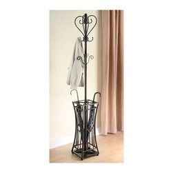 Coaster - Metal Coat Rack w Square base - Two tiers of hanging hooks. Square umbrella stand. Pewter finish. 12 in. W x 12 in. D x 71.5 in. H. WarrantyA metal umbrella stand features a unique hourglass shape and holds your umbrella and related items securely in place.