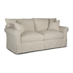 Klaussner Jenny Sofa - Bull Natural - Elegant sophistication and understated charm are what make the Klaussner Jenny Sofa - Bull Natural so appealing. Perfect in any neutral space, this plush sofa maintains its subdued, clean lines while still giving you thick seat and back cushions that you'll just sink into every time you sit down. A soft white fabric covers the exterior, as is continued on the matching pillows. Rolled arms, a high back and an integrated skirt finish the look of this versatile and desirable sofa.About KlaussnerWith 16 U.S. manufacturing and distribution facilities and over 3,000 employees, Klaussner is well known for its quality, value priced home furnishings, produced by highly skilled employees and distributed by furniture retailers throughout the world. Asheboro, N.C., is home for several of Klaussner's manufacturing and distribution facilities as well as the company's corporate headquarters and a 100,000 square foot showroom. In recent years Klaussner has also begun to utilize worldwide sources to import leather upholstery, bedroom, dining room, occasional, entertainment, accents and most recently a full line of accessories. This has allowed Klaussner to become a full product and service provider for the whole home.