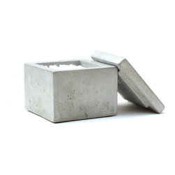 Rough Fusion - Concrete Q-Tip Holder, Natural Concrete - This a simple, minimalist design is perfect for your contemporary bathroom.