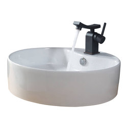 Kraus - Kraus White Round Ceramic Sink and Unicus Basin Faucet Oil Rubbed Bronze - *Add a touch of elegance to your bathroom with a ceramic sink combo from Kraus